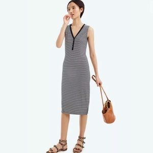 J. Crew Henley Stripe Midi Dress Sz XL Stripes